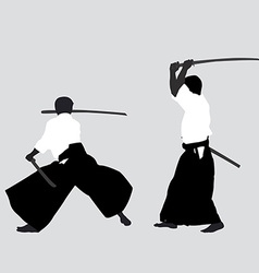 Men silhouettes practicing Aikido vector image