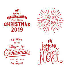 Merry christmas happy new year joyeux noel 2019 vector