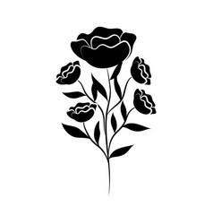minimalist tattoo flower vintage style silhouette vector image