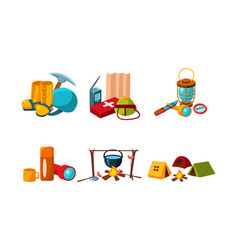 Mountaineering and touristic equipment tools vector