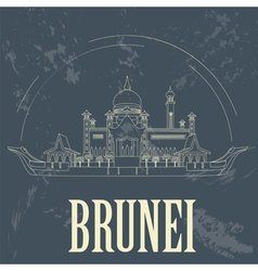 Nation of Brunei landmarks Retro styled image vector