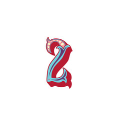 Number 2 lettering vector
