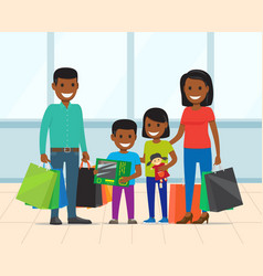 Parents and children with packages shop vector