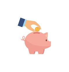 Piggy bank money flat image style vector