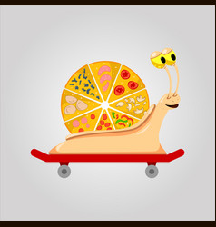 Pizza snail on skateboard vector