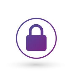 purple gradient simple lock icon in circle vector image