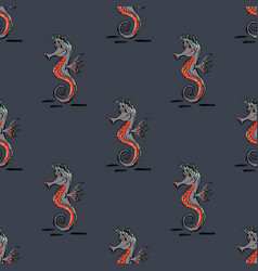 Quirky seahorse seamless pattern vector