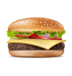 realistic hamburger classic burger american vector image