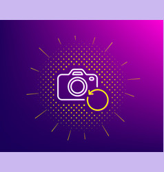 Recovery photo camera line icon backup data sign vector