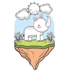 rhino wild animal cartoon vector image