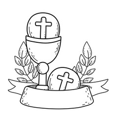 Sacred chalice with first communion vector
