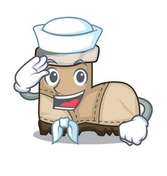 Sailor working boots isolated on the mascot vector