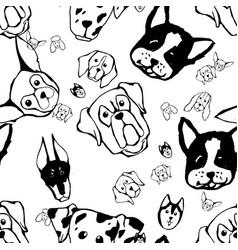 Seamless pattern with dog breeds bulldog husky vector