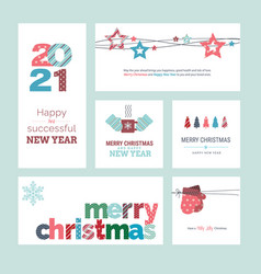 Set christmas and new year 2021 greeting cards vector