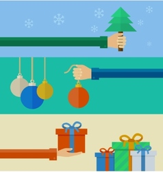 set christmas concepts in flat design vector image