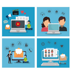 set laptop with computer and tv technology vector image