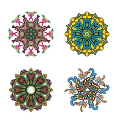 Set of four flower circle mandalas vector