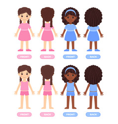 Set of isolated brunette little girl and afro vector