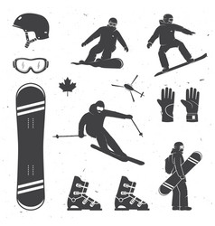 Set of winter sports equipment skier and vector