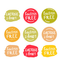 set round green labels with text lactose free vector image