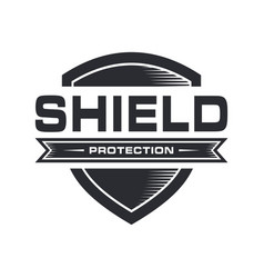 Shield logo with emblem style black and white vector