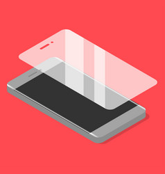 Smartphone with protector glass in isometric vector