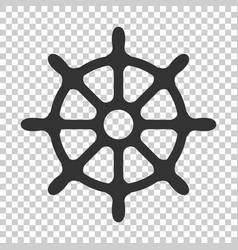 Steering wheel rudder icon on isolated vector