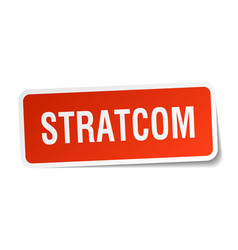 Stratcom square sticker on white vector