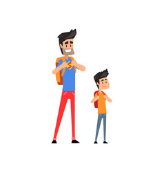 super hero dad and his son standing with backpacks vector image