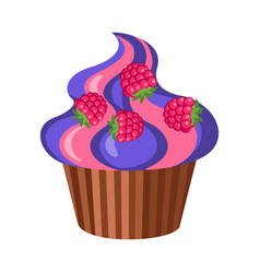 Sweets round fruit cupcake with four raspberries vector