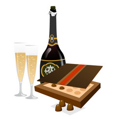Tasty champagne with glasses and box of chocolates vector