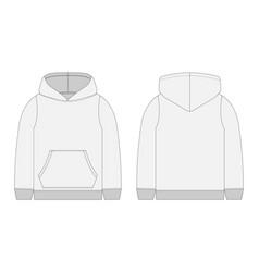 Technical sketch for men grey hoodie mockup vector