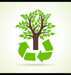 Tree inside the recycle icon vector