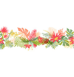 Tropical flower hand drawn border vector