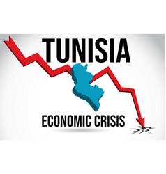 Tunisia map financial crisis economic collapse vector