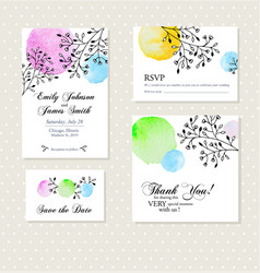 Vintage invitation card with watercolor elements vector