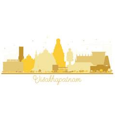 Visakhapatnam india city skyline golden silhouette vector