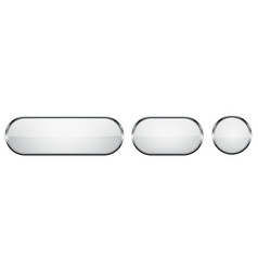 White glass buttons with chrome frame 3d round vector
