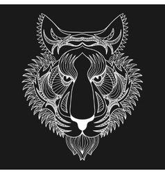 White Tiger Zentangle Tiger face vector