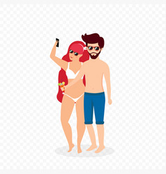 young loving couple in swimsuits making selfie vector image