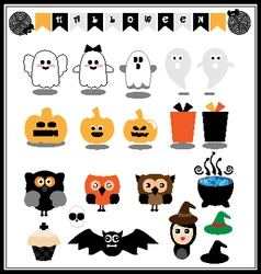 Cute halloween icons vector image vector image
