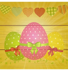 Easter eggs and bunting on wooden background vector image vector image