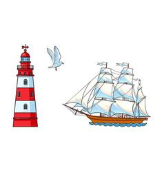Sailing ship lighthouse and seagull set vector