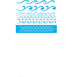 Seamless blue wave line pattern vector image