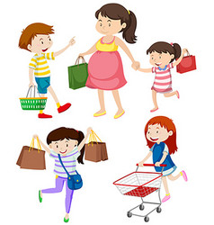 Shoppers with bags and cart vector image