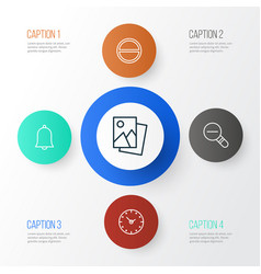 Web icons set collection of time refuse alert vector