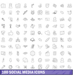 100 social media icons set outline style vector image