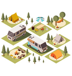 camp elements isometric set vector image