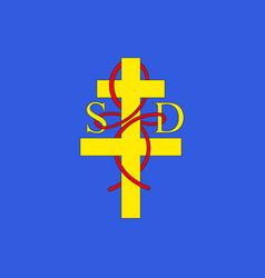 flag of saint-die-des-vosges in vosges of grand vector image