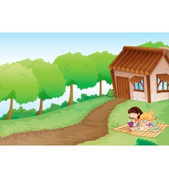 girls and house vector image vector image